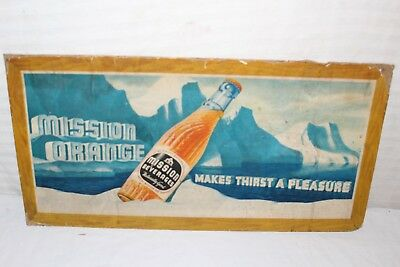 "Vintage 1940's Mission Orange Soda Pop Gas Station 21"" Sign"