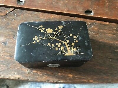 Japanese Vintage Lacquer Small Wood Box