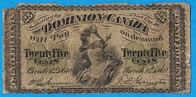25 Cents 1870 Large B Dominion of Canada Shinplaster Note - Well Circulated