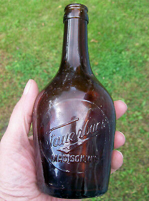 Rare FAUERBACH BEER Madison Wisconsin PRE PRO Grenade Style BOTTLE c 1910 WI vtg