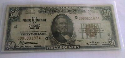 1929 $50 National Currency Federal Reserve Bank Of Chicago. X.f. Nice Note