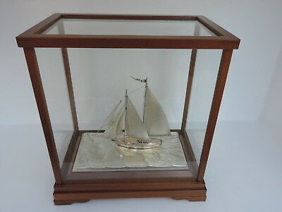 Japanese Signed 2 Masted Sterling Silver 985 Sailboat Yacht Takehiko W Box Japan