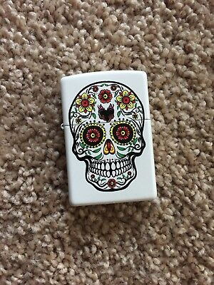 Zippo Classic Skull White Matte Windproof Lighter - New Out Of Box