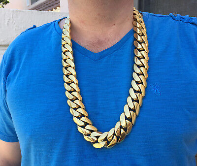 30 mm gold plated solid handmade Miami Cuban link sterling silver chain 33 inch