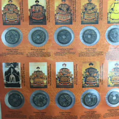 Collect 10pc Chinese Copper Coin Ten Emperors Coins Old Dynasty Antique Currency