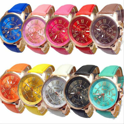 Fashion Womens Ladies Watches Geneva Faux Leather Analog Quartz Wrist Watch New