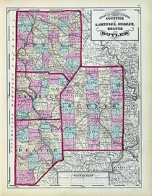 1872 antique state atlas 26 maps PENNSYLVANIA history TREASURE HUNTING old roads