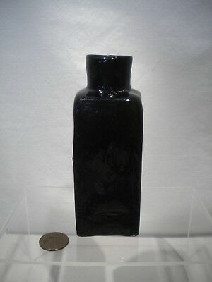 Crude Blackglass Dark Olive Amber New England Open Pontil Blacking Bottle