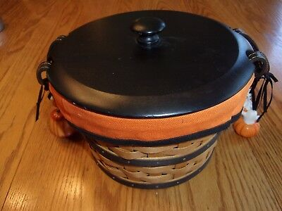 Longaberger 2005 Halloween Basket, Boo Liner, Black Lid and two sets of tie ons