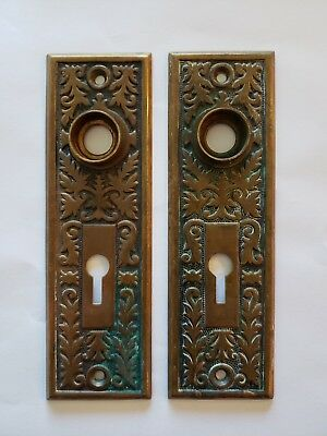 BRASS --  ORNATE  BACK PLATES  .... ANTIQUE -----  BRASS PAIR Keyhole