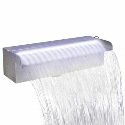 Rectangular Waterfall Pool - Fountain with Leds Stainless Steel 30 Cm