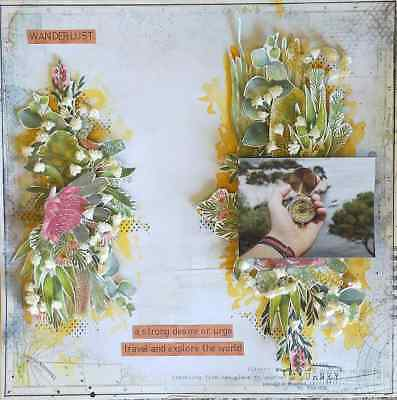 "Handmade Pre-made Mixed Media 12"" x 12"" Scrapbook Page Layout - Wanderlust"