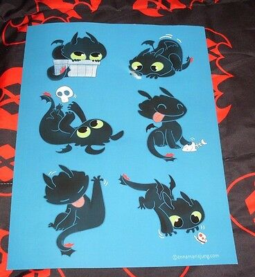 NEW Teefury How to Train Your Dragon A Dragon Person Toothless Print 12 x 16