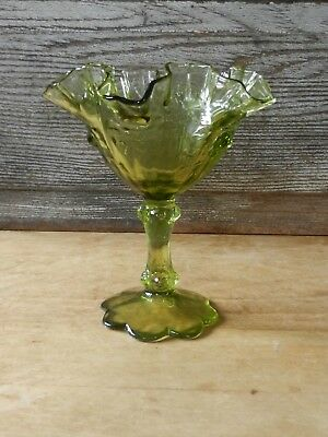 Vintage FENTON Ruffled Art Glass Compote Candy Dish Olive Green