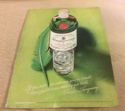 1973 Vintage Print Ad TANQUERAY English Gin Green Bottle Image Feather