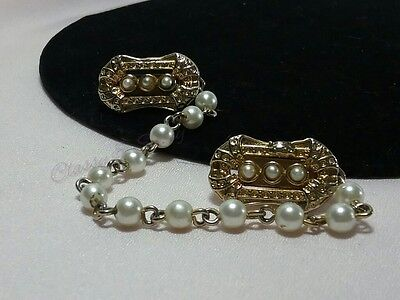 Vintage Gold Faux Pearl Beaded Dangle Chain Sweater Guard Clip
