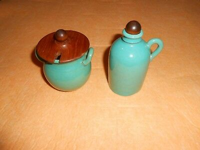 Vintage Turquoise Stoneware Crock & Pitcher Jug ~ Hand Made In Sweden ~ Hoganas?