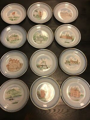 Lot Of 12 Copenhagen Porcelain Pierced B & G Dessert Plates Made In Denmark