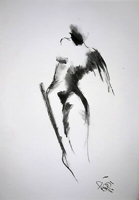 A3 ORIGINAL ART DRAWING * Charcoal on paper * NUDE MOVEMENT   * Art By Poppi