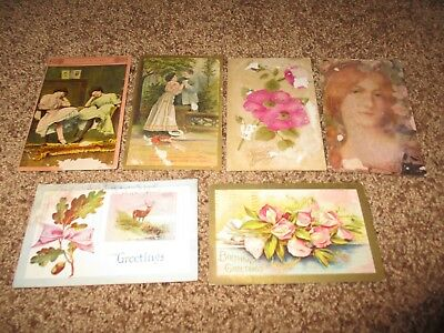 Lot of 6 Antique Post Cards Used and Post Stamped 1909 & 1910