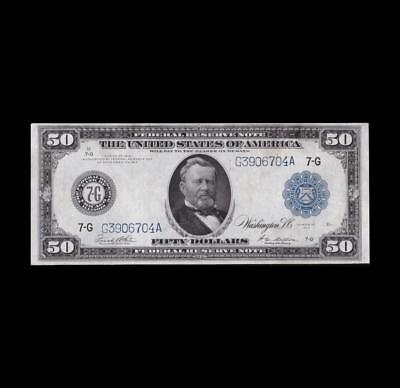 1914 $50 Federal Reserve Strong Very Fine