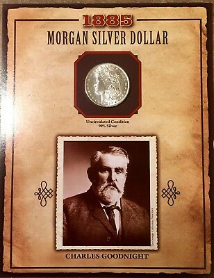 """1885 P Morgan Silver Dollar PCS LEGENDS OF THE WEST """"CHARLES GOODNIGHT"""" W/ STAMP"""