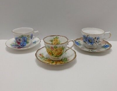 Vintage Floral Bone China Tea Cups and Saucers Made in England Lot of 3