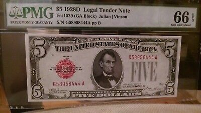 F-1529 1928D $5 Red Seal The Key Note In The 28 Series Pmg 66 Epq