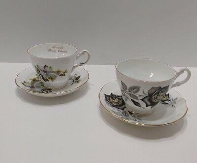 Vintage Floral Bone China Tea Cups and Saucers Made in England Lot of 2