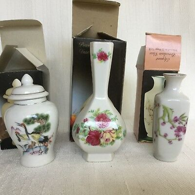 """Set of 3 Japan Porcelain Vase Miniature Tall 4"""", 5"""" Flowers Collectible"""