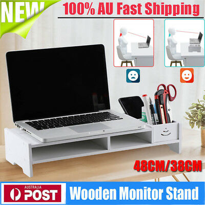 2-Tiers Desktop Monitor Stand LCD TV Laptop Rack Computer Screen Riser Shelf