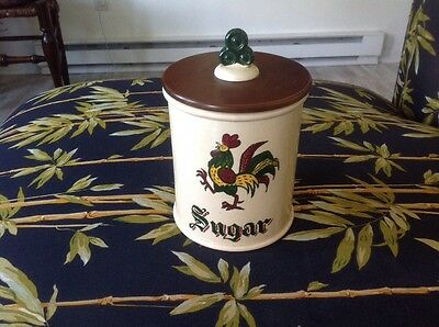 Poppytrail Metlox Ca. Provincial Rooster Sugar Canister