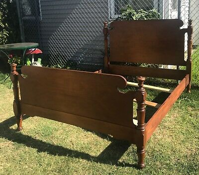 Vintage Antique Solid Maple Full Size Headboard Footboard Rails & Slats