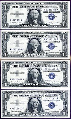 HGR SUNDAY 1957B $1 Silver Cert (4 Consecutive#) Appears GEM+ UNCIRCULATED