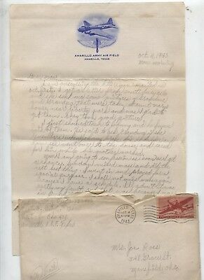 1943 World War 2 WWII Military Letter 490th Bombardment Group Bomber Pilot USAAF