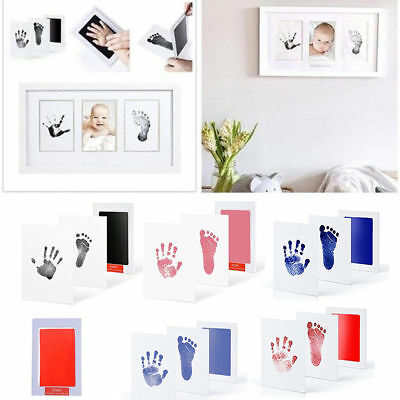 Funny Baby Newborn Handprint Footprint Imprint Clean Touch Ink Pad Paper Kit