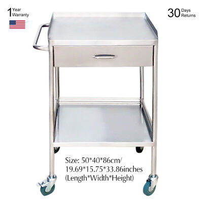 Stainless Steel Medical Equipment Dental Cart Trolley Upper Drawer + 2 Layers GT