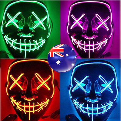 Halloween LED Light Mask Scary Smiling face Rave Purge Festival Cosplay Party AU