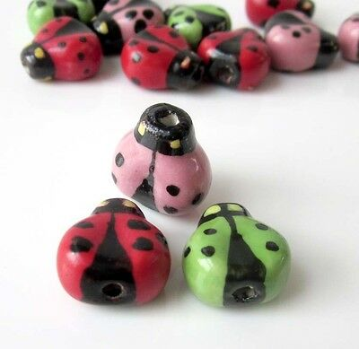 6Pcs Hand Painted Porcelain Insect Beads Finding For Jewelry Making