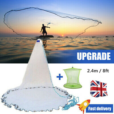 Hand Throw Fishing Net Cast Spin Bait Sinker Small Mesh Equipment Diameter 8Ft