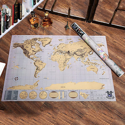 Deluxe Scratch Off Journal Log World Large Personalized Travel Map Atlas Poster