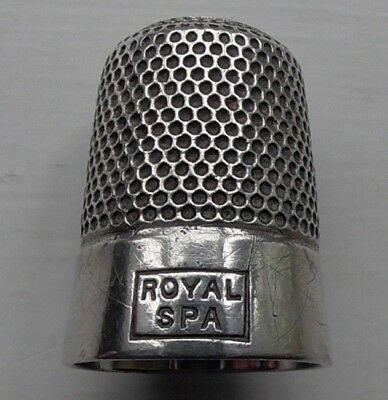 George V - 1927 Royal Spa Hallmarked Solid Silver Thimble - excellent condition