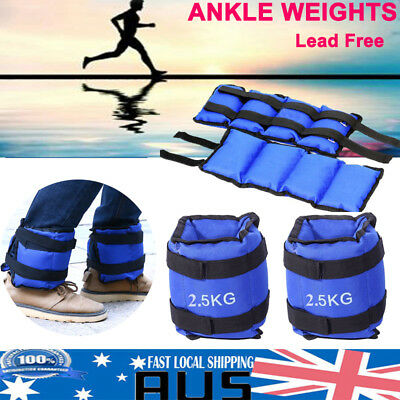 2x2.5kg ADJUSTABLE ANKLE WEIGHTS GYM EQUIPMENT WRIST TRAINING FITNESS YOGA 5KG