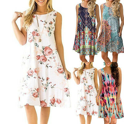 Women Summer Boho Short Mini Dress Floral Printed Pocket Beachwear Sundress AU