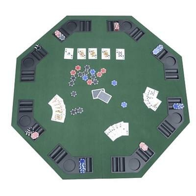 Folding Poker Table With Carrying Bag Green Blackjack Tabletop For 8 Players New