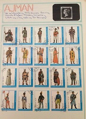 Ajman postage stamps 1973 37 stamps ancient modern military uniforms album pages