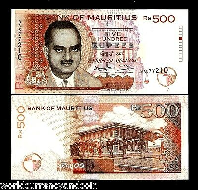 Mauritius 500 Rupees P46 1998 Bissoondoyal *error* Unc Africa Currency Bill Note