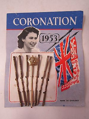 Vintage Card of Bobby Pins 1953 Queen's Coronation crown on 1 hair clip