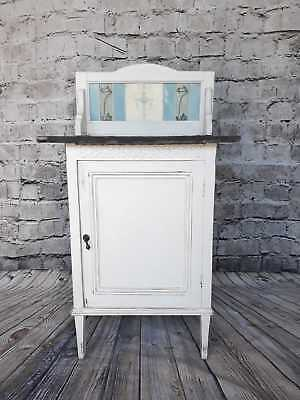 Pretty painted washstand/cupboard slate top with tiles