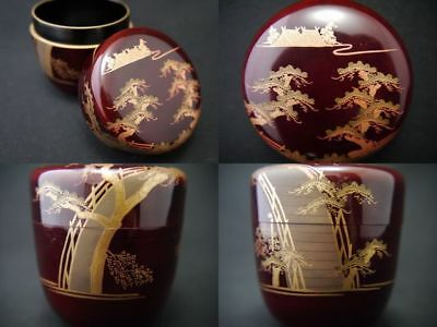 Japanese Traditional Lacquer Wooden Tea caddy SUMIYOSHI makie Natsume (907)